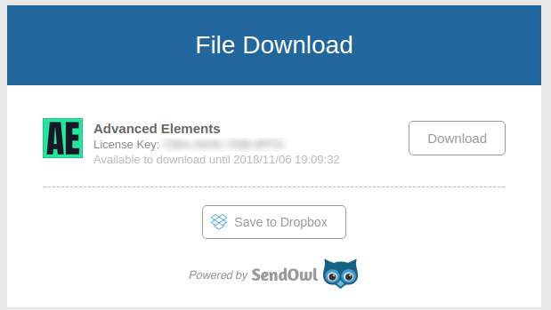 Screenshot of the SendOwl download page.